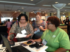 Hard at work in the Digital Storytelling Network Playground at ISTE.