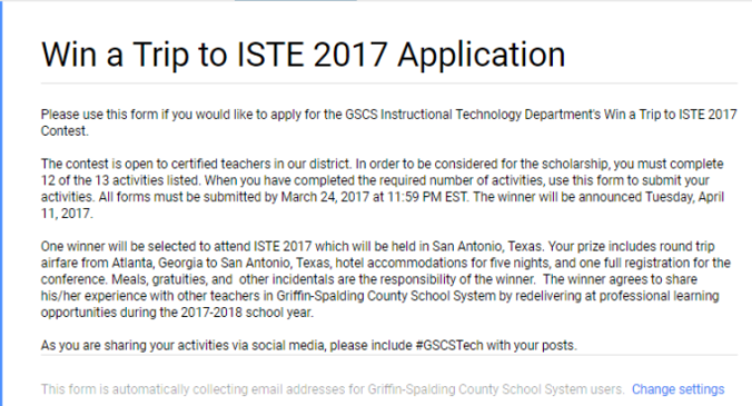 Win a trip to ISTE Application top